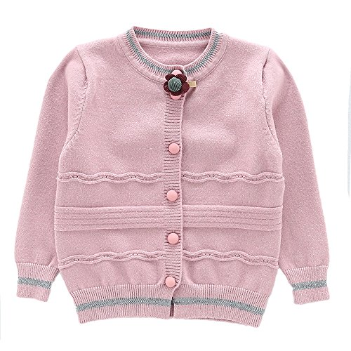 Moonnut Girls Cardigan Sweaters Basic Solid Color Long Sleeve Knitted Outwear (3T, Purple Pink) by Moonnut (Image #1)