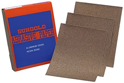 Sungold Abrasives 130064 80 Grit 9-Inch by 11-Inch Sanding Sheets Brown Aluminum Oxide, 50 Sheets/Sleeve