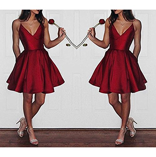 e1baf18eba57 ... Dresses Bonnie Women s V-neck Homecoming Dress Short 2017 Spaghetti  Straps Satin Prom Party Dresses with Pockets BS037.   