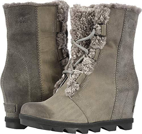 Shearling Leather Boots - Sorel Joan of Arctic Wedge II Shearling Winter Boots - Women's Quarry 10.5