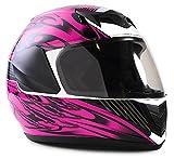 Typhoon Youth Full Face Motorcycle Helmet Kids DOT Street - Black Pink (Large)