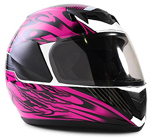 Dot Pink Motorcycle (Youth Kids Full Face Helmet with Shield Motorcycle Street MX Dirtbike ATV - Black Pink ( Small ))