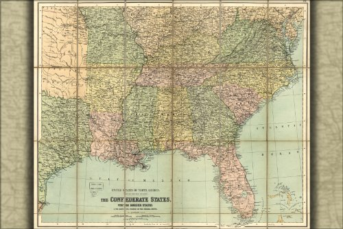 Poster Civil War Map Of Confederate States 1864 Antique Reprint