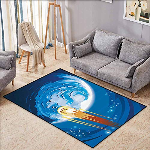 Room Bedroom Floor Rug Fantasy Space Comet Rushing to Planet Galaxy Cosmos Themed Stardust Illustration Violet Blue Orange Durable W6'5 xL4'6 ()