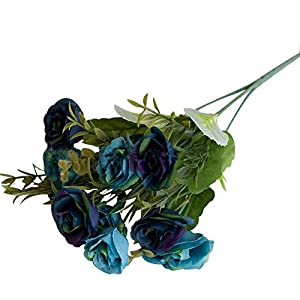 dezirZJjx Artificial Plants 10 Heads Artificial Fake Rose Begonia Flower Wedding Banquet Party Home Decor - Blue 49