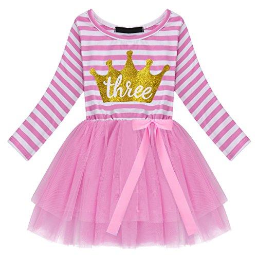 Newborn Baby Girl Princess Long Sleeve Shinny Stripe Crown Printed 1st/2nd/3rd Birthday Cake Smash Tulle Tutu Skirt Dress (Girl Outfit Birthday)