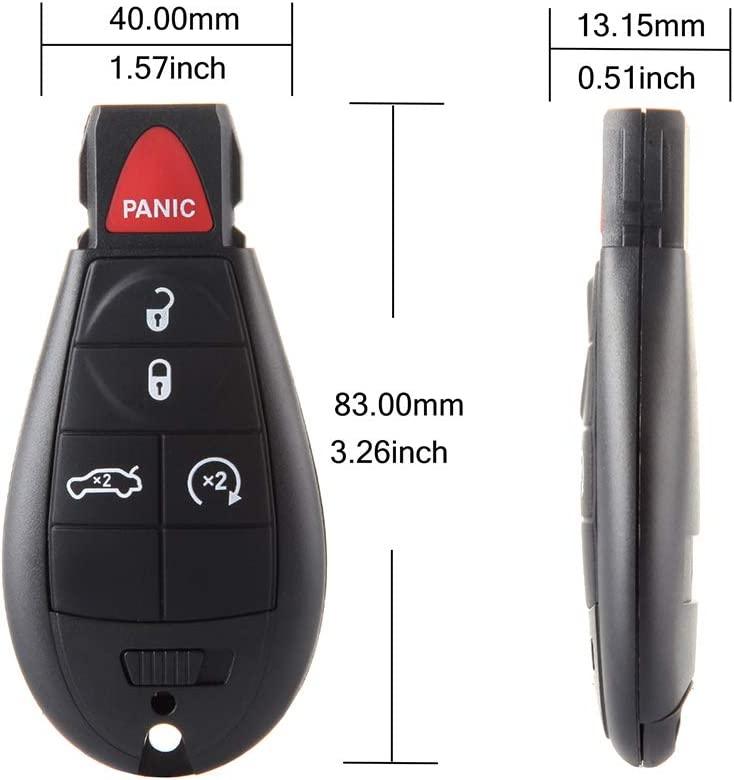 ZENITHIKE Replacement Keyless Entry for S-mart Proximity Remote Key Fob Uncut Ignition Keyless 5 buttons with Key Blade fit for 08 09 10 11 12 for C-hrysler for D-odge for J-eep X 1 ship From USA