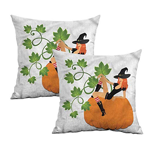 - Khaki home Witch Square Standard Pillowcase Sexy Woman Posing on Pumpkin Square Body Pillowcase Cushion Cases Pillowcases for Sofa Bedroom Car W 14