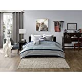 OSD 5pc Boys Navy Blue White Grey Stripes Comforter Full Queen Set, Horizontal Gray Striped Bedding Rugby Stripe Sports Themed Nautical Pattern Modern Lines Pattern Dorm College, Polyester