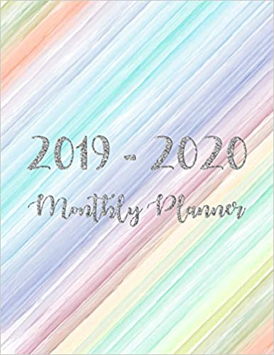 Monthly Calendar Planner 2019-2020 Monthly Planner: Two Year Silver Glitter Happy Colorful Cover 24 Months Jan 2019 to Dec 2020 For Academic Agenda Schedule Organizer Logbook and Journal Notebook Planners
