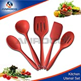 Heat Resistant Cooking Utensil Set - Non-Stick Silicone, BPA & Latex Free, 5 Pieces: Spatula, Turner, Spoonula, Mixing Spoon & Soup Laddle, Superior Comfort and Durability (Red)