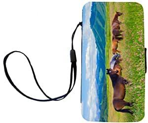 Rikki KnightTM Horses on Pink Meadow PU Leather Wallet Type Flip Case with Magnetic Flap and Wristlet for Apple iPhone 4 & 4s by lolosakes by lolosakes