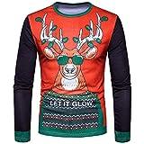 YANG-YI Mens Hot Autumn Winter Xmas Christmas Printing Top Long-Sleeved T-Shirt Blouse