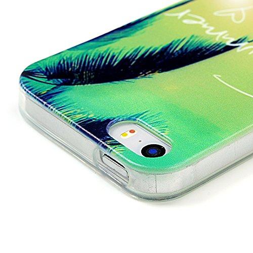MAXFE.CO Painted TPU Silikon Tasche Hülle Schutzhülle Etui für iPhone 5S/ 5 Case Crystal Durchsichtig Klar Transparent- Sommer-Strand-Freizeit Muster Design