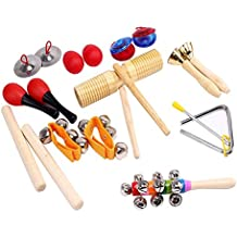 ilovebaby 10 PCS Musical Instruments Set with Maracas, Rhythm Sticks, Nylon Wrist Bell, Wood Sounder, Triangle with Striker, Cymbals, Castanets, Bells, Maracas Eggs and Rattle