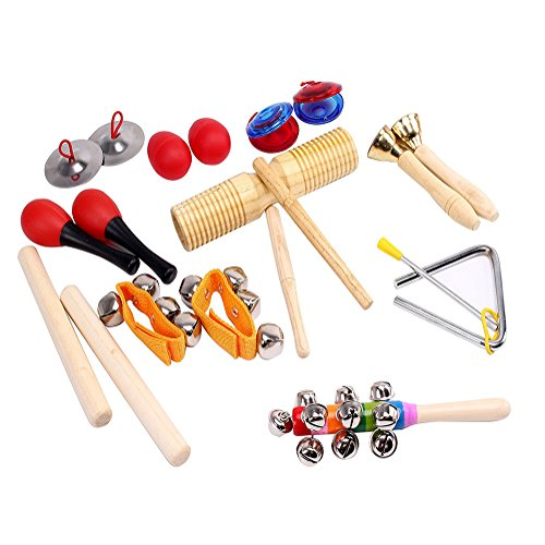 Price comparison product image ilovebaby 10 PCS Musical Instruments Set with Maracas,  Rhythm Sticks,  Nylon Wrist Bell,  Wood Sounder,  Triangle with Striker,  Cymbals,  Castanets,  Bells,  Maracas Eggs and Rattle