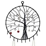 Wall Hanging Round Metal Tree Silhouette Design Jewelry Holder, Earrings and Necklace Hooks, Black