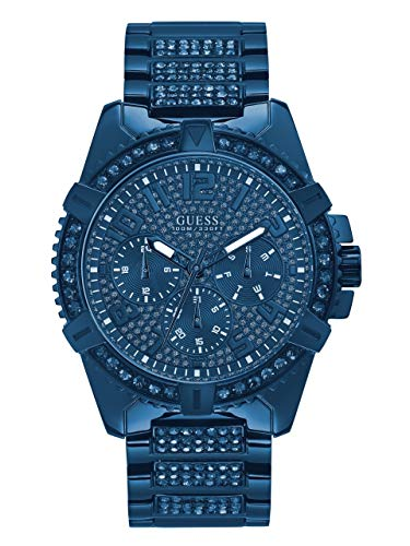 GUESS  Stainless Steel Iconic Blue Crystal Embellished Bracelet Watch with Day, Date + 24 Hour Military/Int'l Time. Color: Blue (Model: - Accent Crystal Watch Guess