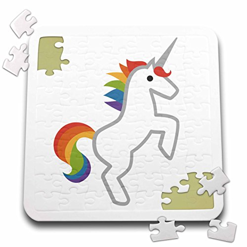 Xander inspirational images - Unicorn, picture of a rainbow unicorn on a white background - 10x10 Inch Puzzle (pzl_265897_2)