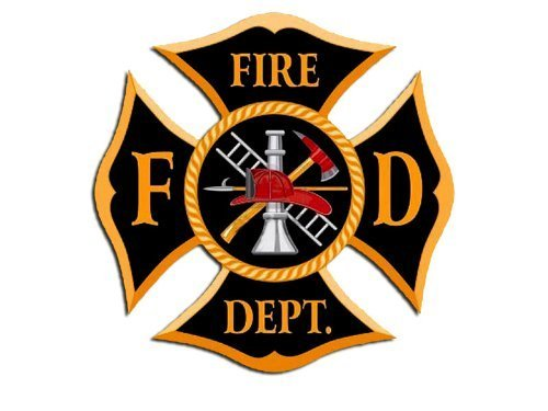 Vintage Black & Gold FD Fire Department Maltese Cross Shaped Sticker (firefighter logo)