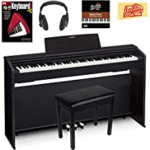 Casio Privia PX-870 Digital Piano - Black Bundle with Furniture Bench, Headphones, Instructional Book, Austin Bazaar Instructional DVD, and Polishing Cloth