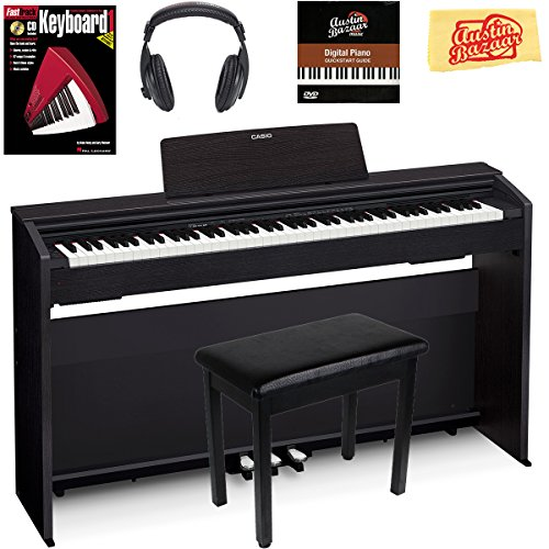 Casio Privia PX-870 Digital Piano - Black Bundle with Furniture Bench, Headphones, Instructional Book, Austin Bazaar Instructional DVD, and Polishing Cloth by Casio