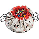 """Play&Go Disney Children Designer Play Mat and Toy Organizer Storage 55"""" Bag - Portable Container for Storing Kids Toys - Mickey Cool"""