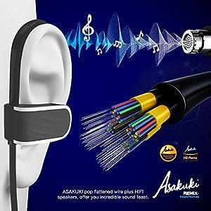 Bluetooth Headphones V4.1, Sweatproof Earphones IPX7, 8 Hours Battery Life Wireless Sport Headphones, for Gym Running, Noise Cancelling Earphones for Smartphones by ASAKUKI