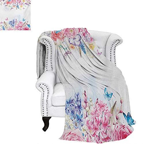 warmfamily Shabby Chic Summer Quilt Comforter Romantic Garden Roses Flowers Daisies Leaves Print Digital Printing Blanket 70