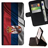 FJCases Serbia Serbian Waving Flag Slim Wallet Card Holder Flip Leather Case Cover for Microsoft Lumia 540 Dual Sim