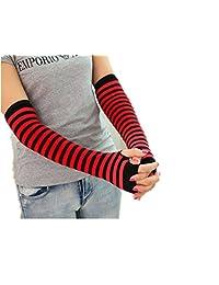 1 Pair of Arm Warmers Fingerless Long Gloves,Stripe