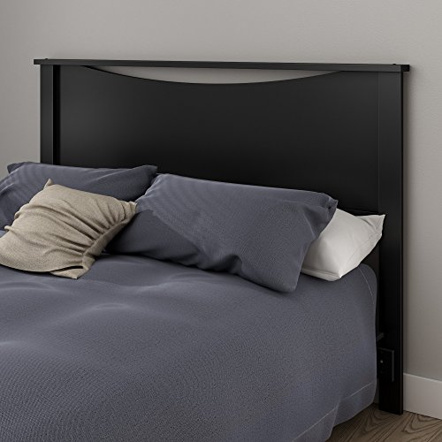 (South Shore Step One Headboard, Full/Queen 54/60-Inch, Pure Black)