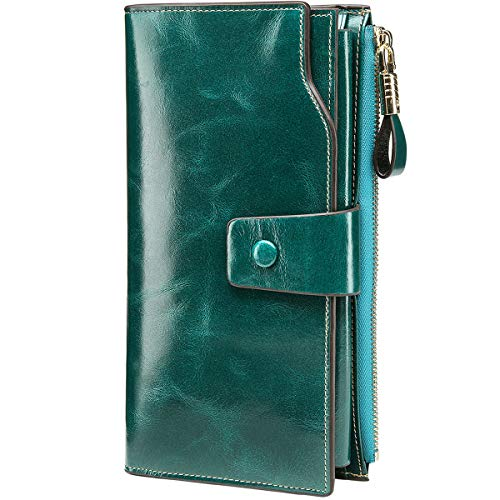 Itslife Women's RFID Blocking Large Capacity Luxury Wax Genuine Leather Clutch Wallet Card Holder Ladies Purse(Green RFID Blocking)