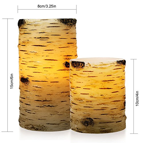 Pandaing Set of 5 Pillar Birch Bark Effect Flameless LED Candles with 10-key Remote Control and 2 4 6 or 8 Hours Timer Function by Pandaing (Image #1)'