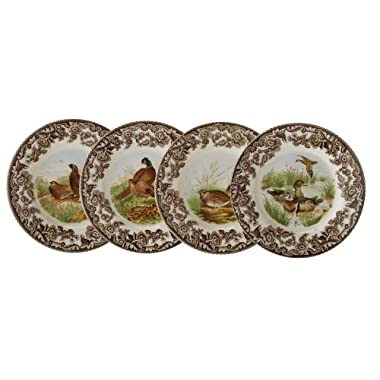 Spode Woodland Canape Plates Assorted Motifs, Set of 4