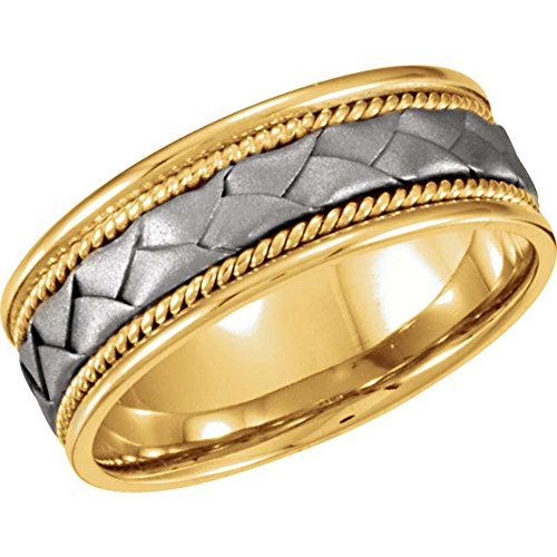 Bridal Duo 08.00 mm Hand Woven Comfort-Fit Wedding Band Ring (Size 11 )