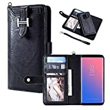 Hulorry Galaxy S9 Wallet Case for Women, Protection Case with Card Slots Money Pocket Cover Zipper Wallet Purse Case Drop Resistant Smart Wallet Credit Magnetic Sleeve for Samsung Galaxy S9