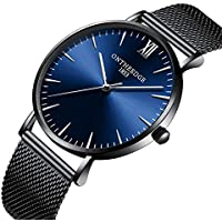 [Patrocinado] Mens Watch Deep Blue/Black Watch/Ultra Thin Wrist Watches for Men/Fashion Watch/Waterproof Dress Stainless Steel Band Blue(8mm)