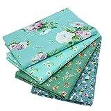 "4Pcs Different Pattern Green 100% Cotton Fabric Fat Quarter Bundle 46 x 56cm ( Appox 18"" x 22"") Patchwork Quilting Fabric"