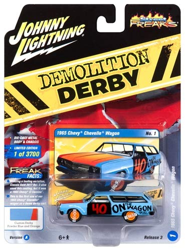 Johnny Lightning JLCP7118-24 1965 Chevrolet Chevelle Wagon #40 Powder Blue Demolition Derby Limited Edition to 3, 700Piece Worldwide 1/64 Diecast Model Car Jlsf009/ Jlcp7118, Multi