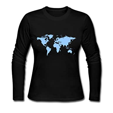 Amazon world map womens t shirtlong sleeve backing shirt amazon world map womens t shirtlong sleeve backing shirt outer garment for women clothing gumiabroncs Choice Image