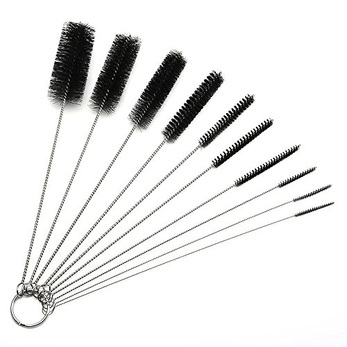 10 pcs 8.2 Inches Nylon Tube Brushes Pipe Cleaning Brush, Glass pipes Cleaning Brush Set for Drinking Straws, Glasses, Keyboards, Jewelry Cleaning