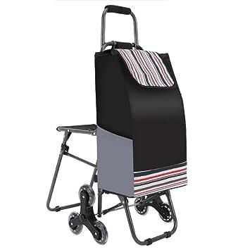 FAMLYJK Carro Utilitario Plegable Multiusos para Subir Escaleras con Asiento Incorporado para Lavandería, Comestibles, Compras Y Más,B: Amazon.es: Hogar