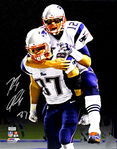 Bowl Stretched Canvas - Rob Gronkowski Signed New England Patriots Stretched 16x20 NFL Wall Mount Canvas - With Tom Brady