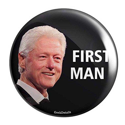 - Geek Details Democrat Themed Pinback Button (First Man Bill Clinton )