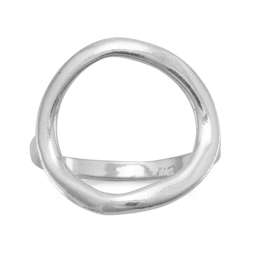 Argent sterling texturé 17mm ouvert Cercle–Bague Taille T 1/2 JewelryWeb AIR355424SS