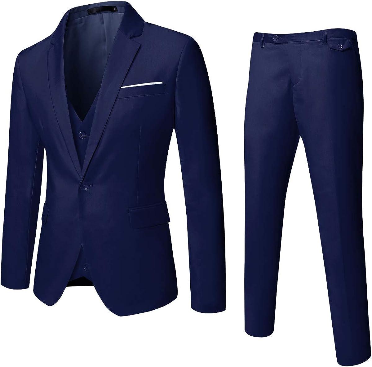 MAGE MALE Mens Solid 3-Piece Suit Slim Fit Notch Lapel One Button Tuxedo Blazer Jacket Pants Vest Set