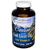 Carlson Labs Norwegian Natural Vitamin A Low A Cod Liver Oil, 1000mg, 150 Softgels