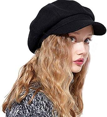kekolin Womens Newsboy Hat Beret Cap Visor Hats for Ladies Wool Newsboy  Beret Cap - black - One Size: Amazon.co.uk: Clothing