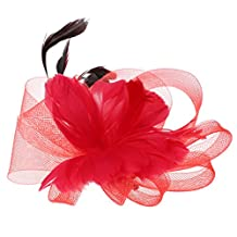 MagiDeal Wedding Bridal Ladies Prom Feather Fascinator Hair Clip Headpiece Decoration - Red